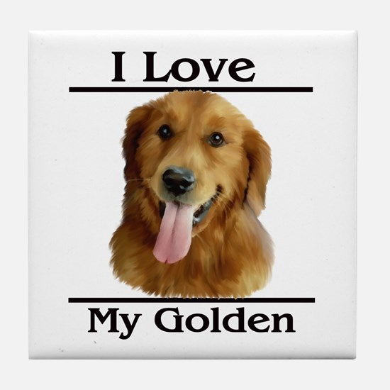 I Love My Golden Tile Coaster