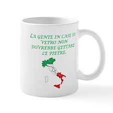 Italian Proverb Glass Houses Mug