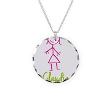 Claudia-cute-stick-girl.png Necklace Circle Charm