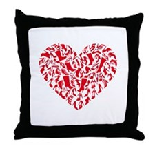 red heart with shoe silhouettes Throw Pillow