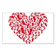 red heart with shoe silhouettes Decal