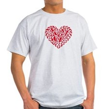 red heart with shoe silhouettes T-Shirt