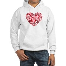 red heart with shoe silhouettes Hoodie
