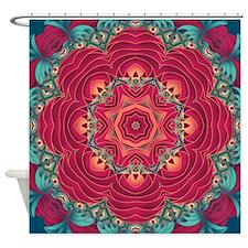 Red Lotus flower mandala Shower Curtain