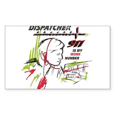 911 dispatcher, red and green Sticker (Rectangle)