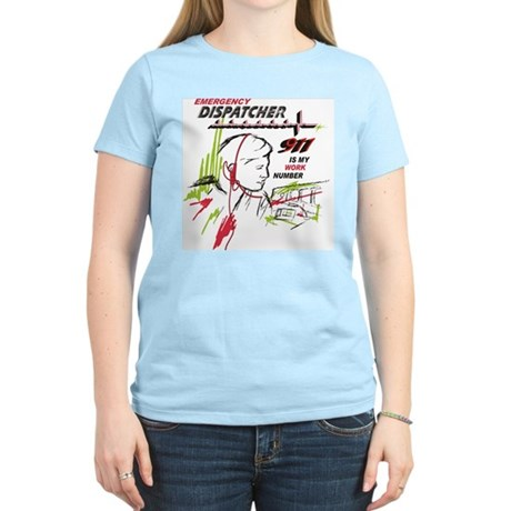 911 dispatcher, red and green Women's Light T-Shir