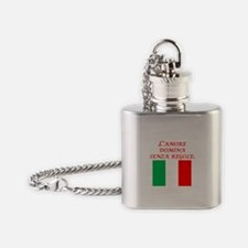 Italian Proverb Love Rules Flask Necklace