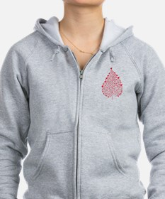 red heart leaf Zip Hoodie