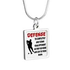 DEFENSE SHUT DOWN OPPONENT Silver Square Necklace