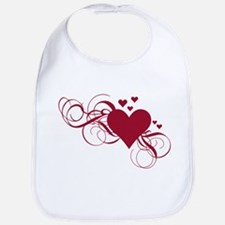 red heart with swirls Bib