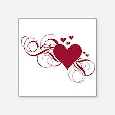 "red heart with swirls Square Sticker 3"" x 3"""
