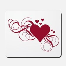 red heart with swirls Mousepad