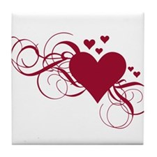 red heart with swirls Tile Coaster