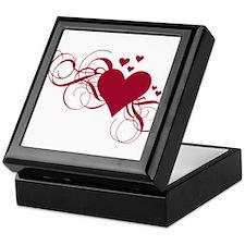 red heart with swirls Keepsake Box