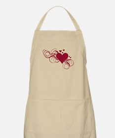 red heart with swirls Apron