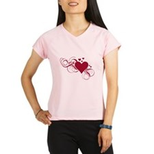 red heart with swirls Performance Dry T-Shirt