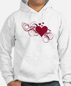 red heart with swirls Hoodie