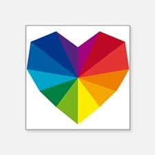 "colorful geometric heart Square Sticker 3"" x 3"""