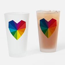 colorful geometric heart Drinking Glass