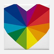 colorful geometric heart Tile Coaster