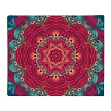 red lotus mandala Throw Blanket
