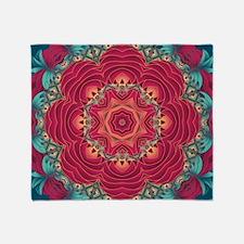 red lotus mandala Throw Blanket
