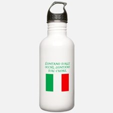 Italian Proverb Out Of Mind Water Bottle