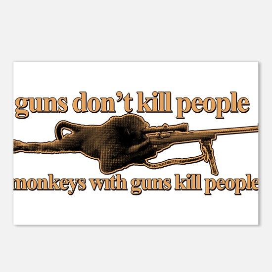 MONKEYS WITH GUNS... Postcards (Package of 8)
