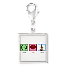 Peace Love Violin Silver Square Charm
