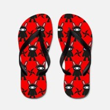 Red Black Ninja Bunny Flip Flops