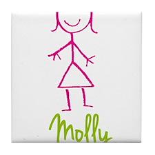 Molly-cute-stick-girl.png Tile Coaster
