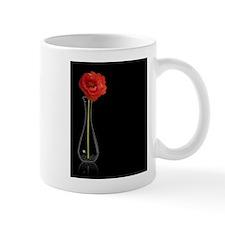 Orange Long Stemmed Poppy flower in Clear Vase Mug