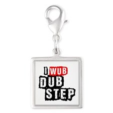 I Wub Dubstep Silver Square Charm