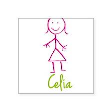 """Celia-cute-stick-girl.png Square Sticker 3"""" x 3"""""""