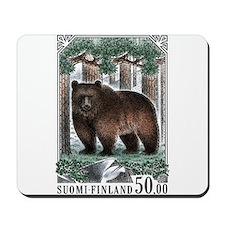 1989 Finland Brown Bear Postage Stamp Mousepad