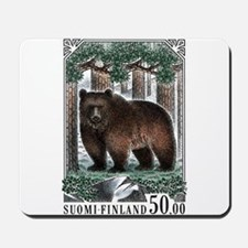 1989 Finland Brown Bear Postage Stamp Mousepad