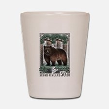 1989 Finland Brown Bear Postage Stamp Shot Glass
