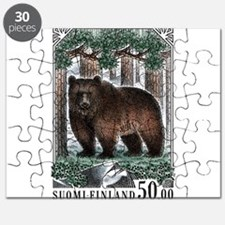 1989 Finland Brown Bear Postage Stamp Puzzle