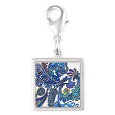 Wild Paisley Silver Square Charm