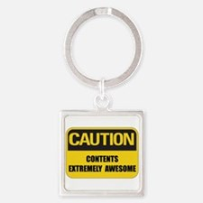 Caution Awesome Square Keychain