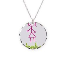 Angelica-cute-stick-girl.png Necklace Circle Charm
