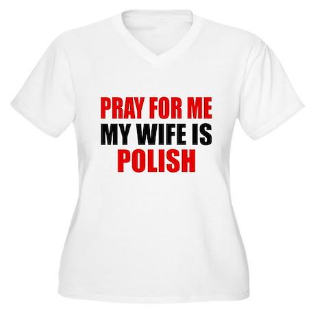 Pray Wife Polish Women's Plus Size V-Neck T-Shirt