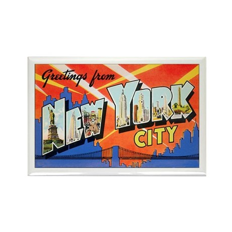 New York City Greetings Rectangle Magnet