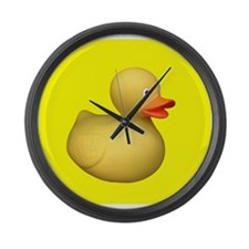 Big Rubber Duck on Yellow Large Wall Clock