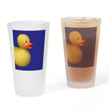 Yellow Rubber Duck on Blue Drinking Glass