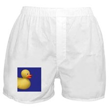 Yellow Rubber Duck on Blue Boxer Shorts