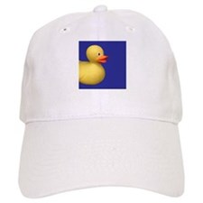Yellow Rubber Duck on Blue Baseball Cap