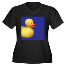 Yellow Rubber Duck on Blue Women's Plus Size V-Nec