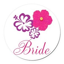 Pink and Purple Bride Hibiscus Flower Round Car Ma