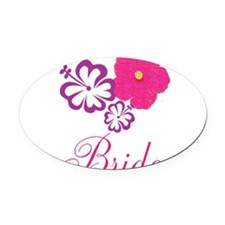 Pink and Purple Bride Hibiscus Flower Oval Car Mag